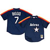 Mitchell & Ness Men's Replica Houston Astros Craig Biggio Navy Cooperstown Batting Practice Jersey