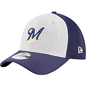 New Era Men's Milwaukee Brewers 39Thirty Heather Grey Neo Stretch Fit Hat