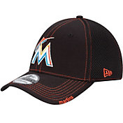 New Era Men's Miami Marlins 39Thirty Neo Black Flex Hat