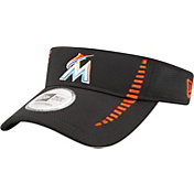 New Era Men's Miami Marlins Black Adjustable Speed Visor
