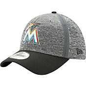 New Era Men's Miami Marlins 39Thirty Clubhouse Grey/Black Stretch Fit Hat
