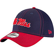 New Era Men's Ole Miss Rebels Blue/Red Team Front Neo 39Thirty Stretch Fit Hat