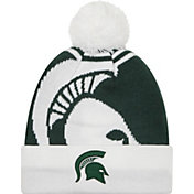 New Era Men's Michigan State Spartans White/Green Logo Whiz 2 Knit Beanie