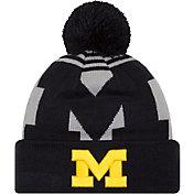 New Era Men's Michigan Wolverines Blue/Grey Whiz 2 Knit Beanie