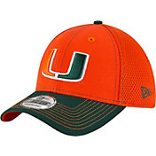 New Era Men's Miami Hurricanes Orange/Green Team Front Neo 39Thirty Stretch Fit Hat
