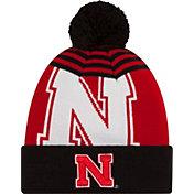 New Era Men's Nebraska Cornhuskers Black/Scarlet Logo Whiz 2 Knit Beanie