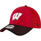 New Era Men's Wisconsin Badgers Team Front Red/Black Neo 39Thirty Hat