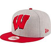 New Era Men's Wisconsin Badgers Grey/Red Grand Snap 9Fifty Adjustable Hat
