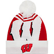New Era Men's Wisconsin Badgers White/Red Logo Whiz 2 Knit Beanie