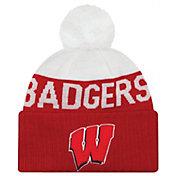 New Era Men's Wisconsin Badgers Red/White NE 15 Sport Knit Beanie
