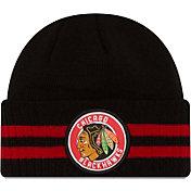New Era Men's Chicago Blackhawks Two Stripe Remix Knit Hat