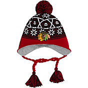 New Era Men's Chicago Blackhawks Stay Toasty Black/Red Peruvian Knit Hat
