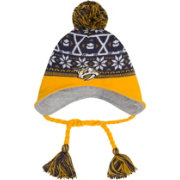 New Era Men's Nashville Predators Stay Toasty Blue/Gold Peruvian Knit Hat