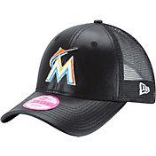 New Era Women's Miami Marlins 9Forty Glam Team Black Adjustable Hat