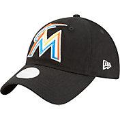 New Era Women's Miami Marlins 9Twenty Team Glisten Black Adjustable Hat