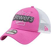 New Era Youth Girls' Milwaukee Brewers 9Twenty Pop Stitcher Pink/White Adjustable Hat