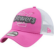 New Era Youth Girls' Milwaukee Brewers 9Twenty Pop Stitcher Pink/White Adjustable Hat