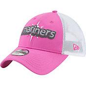 New Era Youth Girls' Seattle Mariners 9Twenty Pop Stitcher Pink/White Adjustable Hat