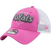 New Era Youth Girls' Kansas City Royals 9Twenty Pop Stitcher Pink/White Adjustable Hat