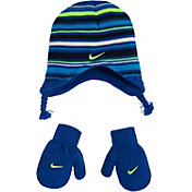 Nike Toddler Boys' Striped Beanie with Mittens Set