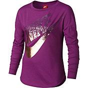 Nike Girls' Novelty Metal Long Sleeve Graphic Shirt