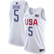 Nike Men's Team USA 2016 Olympic Games Kevin Durant #5 White Replica Basketball Jersey
