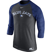 Nike Men's Toronto Blue Jays Dri-FIT Authentic Collection Grey Legend Three-Quarter Shirt