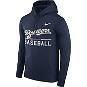 Nike Men's Milwaukee Brewers Dri-FIT Navy Therma Pullover Hoodie
