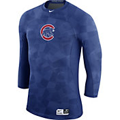 Nike Men's Chicago Cubs Hypercool Authentic Collection Royal Performance Three-Quarter Shirt