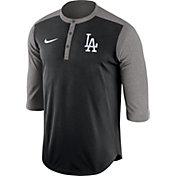 Nike Men's Los Angeles Dodgers Dri-FIT Black Three-Quarter Sleeve Henley Shirt