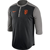 Nike Men's San Francisco Giants Dri-FIT Black Three-Quarter Sleeve Henley Shirt