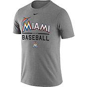 Nike Men's Miami Marlins Practice Grey T-Shirt