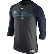 Nike Men's Seattle Mariners Dri-FIT Authentic Collection Grey Legend Three-Quarter Shirt
