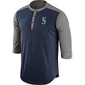 Nike Men's Seattle Mariners Dri-FIT Navy Three-Quarter Sleeve Henley Shirt