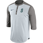 Nike Men's Seattle Mariners Dri-FIT White/Grey Three-Quarter Sleeve Henley Shirt