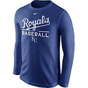 Nike Men's Kansas City Royals Practice Royal Long Sleeve Shirt