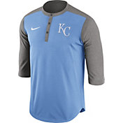 Nike Men's Kansas City Royals Dri-FIT Light Blue Three-Quarter Sleeve Henley Shirt
