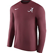 Nike Men's Alabama Crimson Tide Heathered Crimson Football Coach Dri-FIT Touch Sideline Long Sleeve Shirt
