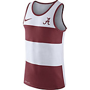 Nike Men's Alabama Crimson Tide White/Crimson Wide Stripe Dri-Blend Tank