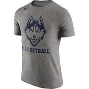 Nike Men's UConn Huskies Grey Basketball Tri-Blend T-Shirt