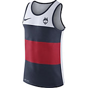 Nike Men's UConn Huskies White/Blue/Red Wide Stripe Dri-Blend Tank