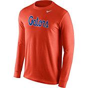 Nike Men's Florida Gators Orange Wordmark Long Sleeve Shirt