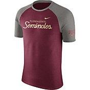 Nike Men's Florida State Seminoles Garnet/Grey Script Tri-Blend Raglan T-Shirt