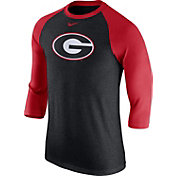 Nike Men's Georgia Bulldogs Grey/Red Baseball Tri-Blend Logo Raglan Shirt