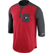 Nike Men's Georgia Bulldogs Red/Grey Dri-FIT Touch Henley Shirt