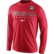 Nike Men's Georgia Bulldogs Red Football Practice Long Sleeve Shirt