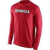 Nike Men's Georgia Bulldogs Red Wordmark Long Sleeve Shirt