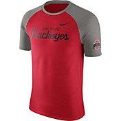 Nike Men's Ohio State Buckeyes Scarlet/Gray Script Tri-Blend Raglan T-Shirt