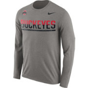Nike Men's Ohio State Buckeyes Gray Staff Sideline Long Sleeve Shirt