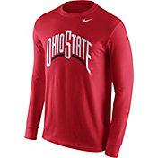 Nike Men's Ohio State Buckeyes Scarlet Wordmark Long Sleeve Shirt